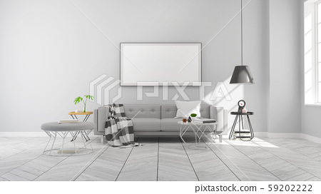 Minimalist  Modern style ,living room  interior concept design,gray sofa and black lamp on wood floor with gray wall,3D render 59202222