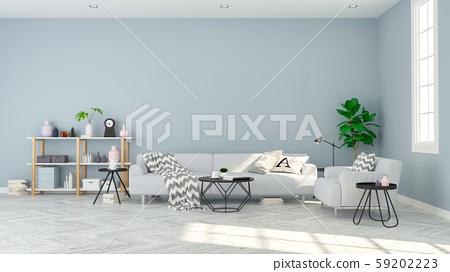 Modern scandinavian  style , living room  interior concept design,  gray sofa on wood floor and blue wall,3D render 59202223