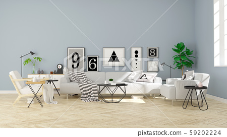 Modern scandinavian  style , living room  interior concept design,  gray sofa on wood parquet  floor and blue wall,3D render 59202224