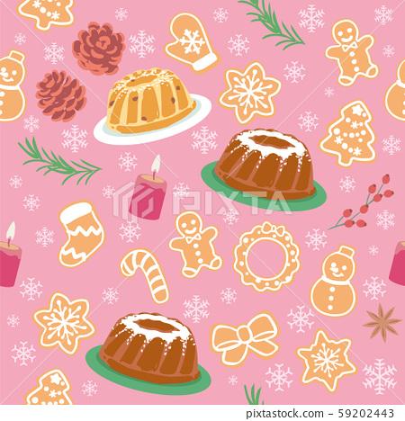 크리스마스 패턴 소재. 쿠 그로 쿠키 등 크리스마스 스위트. 59202443