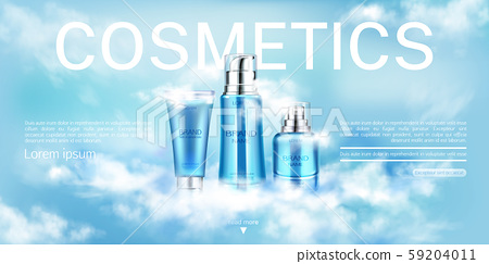 Cosmetics bottles beauty product line landing page 59204011