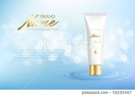 Advertising poster for cosmetic product for catalog, magazine. Vector design of cosmetic package 59205407