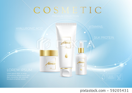 Advertising poster for cosmetic product for catalog, magazine. Vector design of cosmetic package 59205431