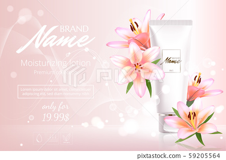 Advertising poster for cosmetic product with flowers for catalog, magazine. Vector design of 59205564