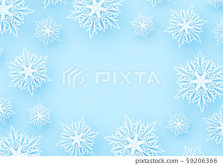 Winter background with paper snowflakes. 59206366