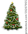 Christmas Tree with Colorful Ornaments 59207955
