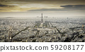 aerial view over Paris at sunset with iconic 59208177