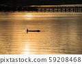 Silhouette fisherman and wood bridge, Sangkhlaburi 59208468