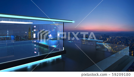 3D rendering of a modern glass balcony with city skyline 59209180