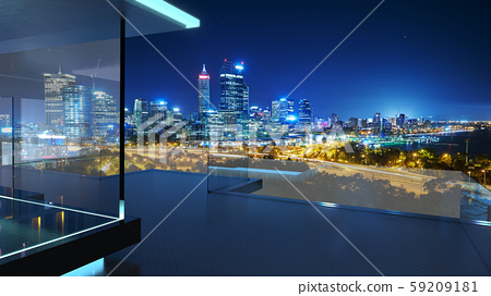 3D rendering of a modern glass balcony with city skyline 59209181