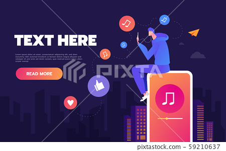Young man dancing to the music playing on his phone. The concept of listening to music on social 59210637