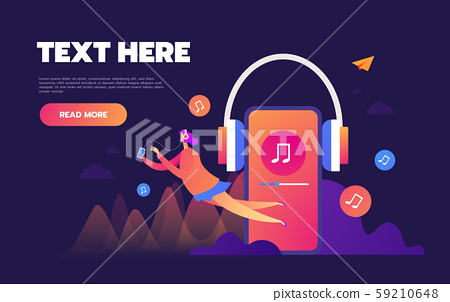 Concept of internet online music streaming listening, people relax listen. Music applications 59210648