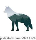 wildlife wolf green forest landscape silhouette 59211126