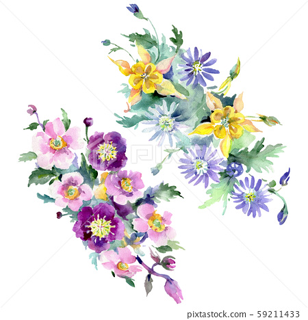 Bouquet floral botanical flowers. Watercolor background illustration set. Isolated bouquets 59211433