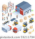 Isometric warehouse logistic. Cargo transport industry, wholesale distribution logistics and 59211794
