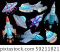 Cartoon spaceship. Futuristic space rocket vehicles, alien flight spacecraft ship ufo and aerospace 59211821