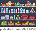 Food products on shop shelf. Supermarket shopping shelves, food store showcase and choice packed 59211850