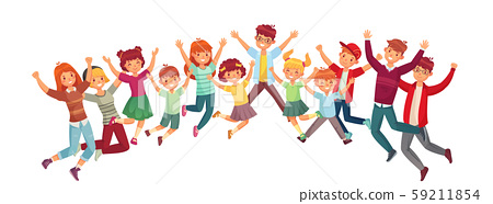 Jumping kids. Excited childrens jump vector or exercising together illustration isolated set 59211854