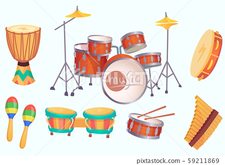 Cartoon drums. Musical drum instruments. Music instrument vector isolated collection 59211869