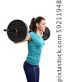 Young girl with barbell 59211948