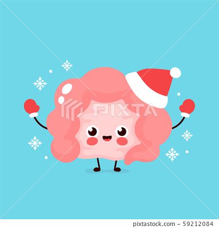 Cute happy intestine organ in christmas hat  59212084