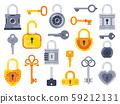 Lock with keys. Golden key, access padlock and closed safe padlocks isolated flat vector set 59212131