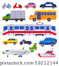 Public transport. Taxi car vehicle, city train and urban transporter isolated cars vector collection 59212144