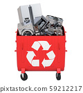 Red recycling trash can with household appliance 59212217