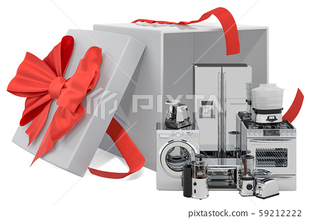 Gift concept, home appliances inside gift box 59212222