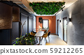 Natural interior in modern cafe with plants on ceiling 59212265
