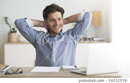 Successful Entrepreneur Relaxing Sitting At Laptop At Workplace 59212559