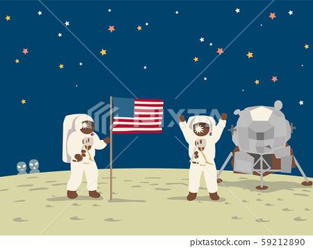 우주선 아폴로 11 호의 달 착륙. 하면 우주인. 59212890