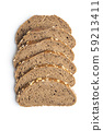 Sliced whole grain bread with oat flakes. 59213411