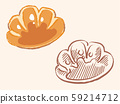 Cream bread. Bread material. Set of handwriting style and sketch style. 59214712