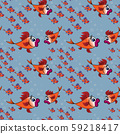 a surprised flock of goldfish with purple fins on a background of blue water and bubbles 59218417