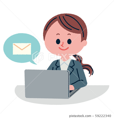 Illustration of a female employee checking email with a smile 59222340