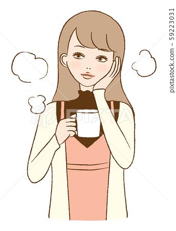 여성 카페 편안한 티타임 다방 일러스트 59223031