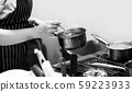 chef cooking in a kitchen, chef at work, Black & 59223933