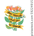 Grow through what you go through. Supportive motivational quote illustrated with a bouquet of wild 59224915