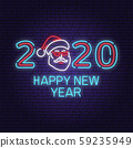 Happy New Year 2020 neon sign with santa claus. Vector illustration. 59235949
