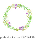Wildflowers Vector Border. Colorful Decorated Wreath Element 59237436