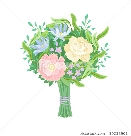 Wedding Bouquets Vector Illustrated Set. Magnificent Flower Bunch 59238901
