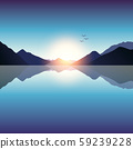 romantic sunset on blue mountain and ocean landscape 59239228