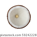 Coconut Half isolated on white background. Top 59242228