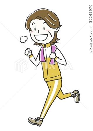 女性成熟年齡運動跑步 59243970