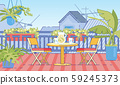 Cottage House Comfortable Balcony Flat Vector 59245373