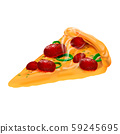 Hot pizza isolated on white background. Vector realistic file. 59245695