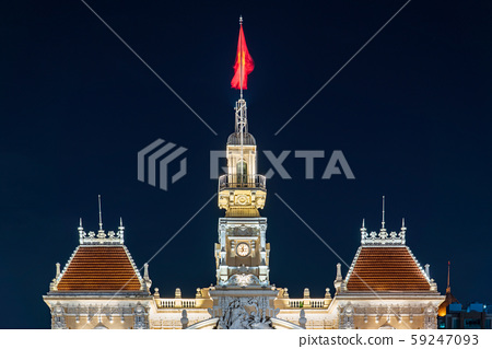 胡志明市政府的夜景 59247093