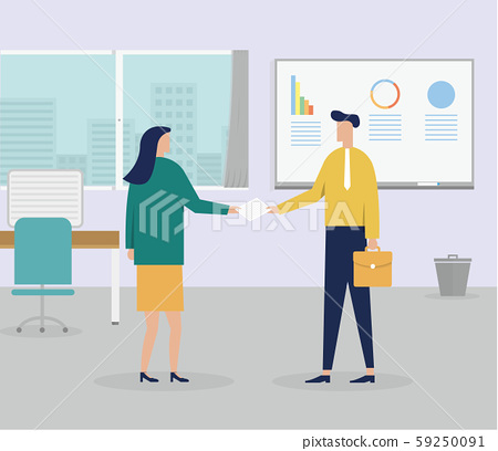 The concept of businessman or office workers - Businessman holding briefcase - Office building interior- Vector illustration in flat style. 59250091