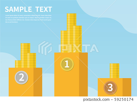 The pursuit of wealth. money ranking. The concept of business success. Winners ranking podium vector illustration. Prizes for champions flat style design. 59250174
